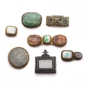 7 Chinese Metal-mounted Stone And Glass Belt Buckles,