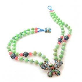 Chinese Jade, Enamel, Metal Necklace.