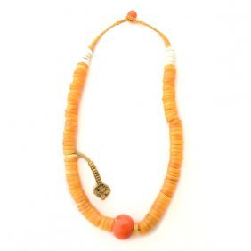 *tibetan Coral, Bone, Chank Shell Bead Necklace.