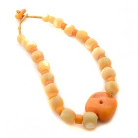 Tibetan Amber, Mother-of-pearl Bead Necklace.