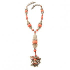 *mongolian Coral Bead, Silver Necklace.