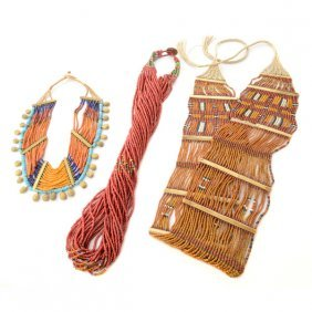 Collection Of Two Naga Glass Bead, Brass Necklaces And