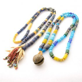 Collection Of Two Borneo Glass, Brass, Teeth Necklaces.