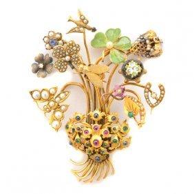 Multi-stone, Enamel, Diamond, Seed Pearl, Glass, Yellow