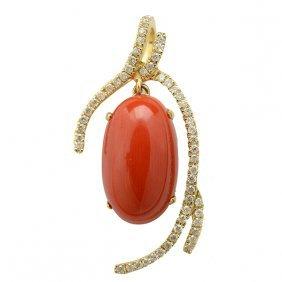 *coral, Diamond, 14k Yellow Gold Pendant.