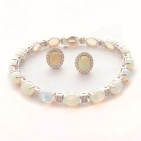 Opal, Diamond, 14k White Gold Jewelry Suite.