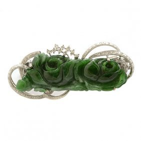 Jade, Diamond, 18k White Gold Hair Clip.