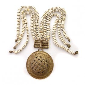 Ladakh Cowrie Shell And Brass Belt Ornament.