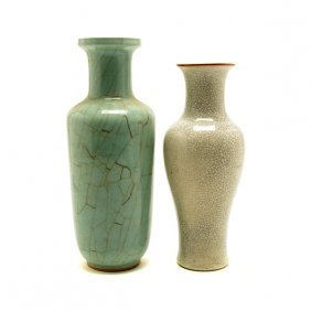 Two Crackle Glazed Vases