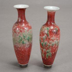 A Pair Of FlambÈ Glazed Amphoras