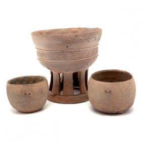 Three Korean Stoneware Bowls, Silla Dynasty