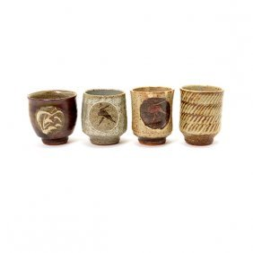 Four Ceramic Tea Cups By Tatsuzo Shimaoka