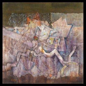 """Armando Villegas """"abstract Composition"""" Oil"""