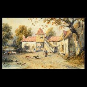 """Newton Fielding """"genre Scene"""" Watercolor, English Art"""
