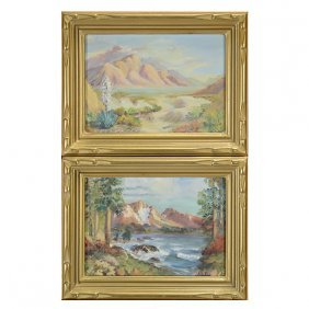 "Two Bernice Mcknight ""mountain Scenes"" Oil On Masonite."