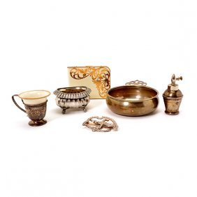 Five Sterling Silver Items And An Elgin Cigarette Case