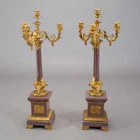 Pair Of French Louis Xv Style Dore Bronze Four Light