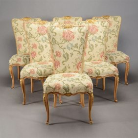 Set Of Six Rococo Style Painted And Parcel Gilt