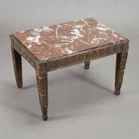 Neoclassical Style Giltwood Marble Top Side Table