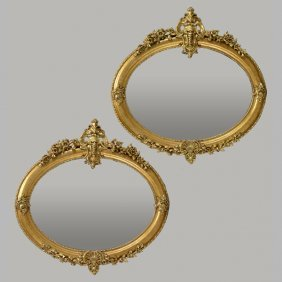 Pair Of French Louis Xvi Style Oval Gilded Mirrors