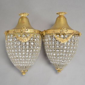 Pair Of Neoclassical Style Gilt Bronze Melon Form Light
