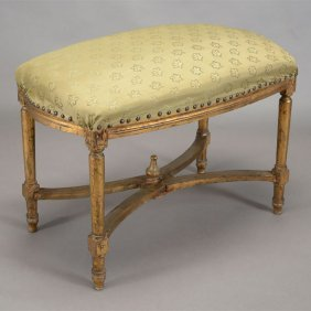 French Louis Xvi Style Carved Wood Upholstered Bench