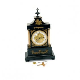 Napoleon Iii Gilt Metal Mounted Portico Clock