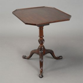 George Iii Mahogany Tilt Top Tea Table With Carved Ball