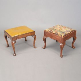 Two Associated Queen Anne Or Chippendale Walnut Benches