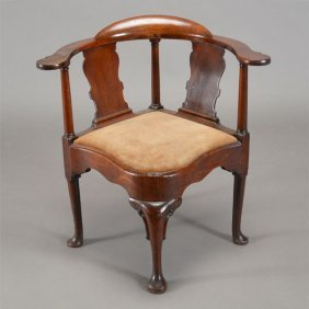 George Iii Mahogany Corner Chair With Suede Slip Seat