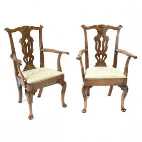 Pair Of Provincial Chippendale Dining Armchairs