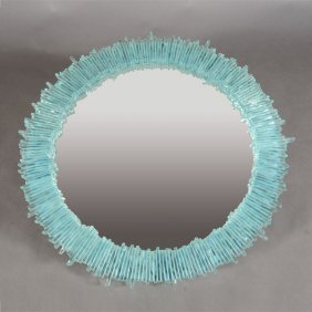 Modern Blue Glass Starburst Mirror