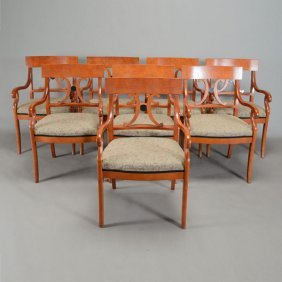 Set Of Eight Contemporary Biedermeier Style Armchairs
