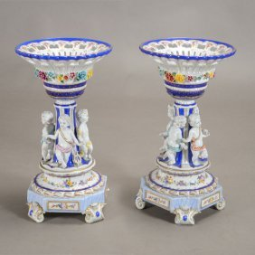 Pair Of Meissen Style Porcelain Figural Compotes