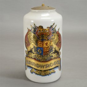 Large English Reverse Painted Glass Apothecary Jar