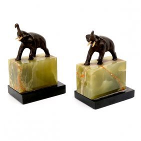 Pair Of German Art Deco Bronze Elephant Figures