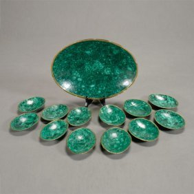 Bronze And Malachite Serving Bowl With Twelve Nut