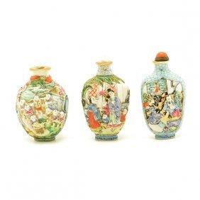 Three Famille Rose Snuff Bottles, 19th Century