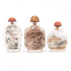 Three Inside-painted Glass Snuff Bottles, 20th Century