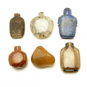 Six Hardstone Snuff Bottles, Late 19th/early 20th