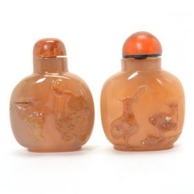 Two Carved Agate Snuff Bottles,19th Century