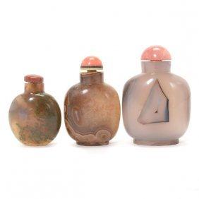 Three Agate Snuff Bottles