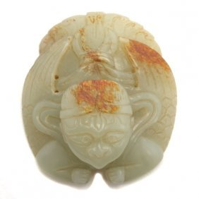 A Russet Jade 'mythical Creature' Plaque