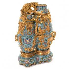 A Cloisonn Enamel Conjoined Double Vase And Stand