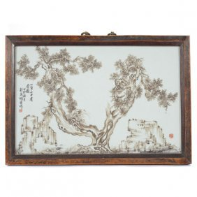 A Grisaille Painted Porcelain Plaque By Hu Kui (19th