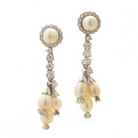 Pair Of Cultured Pearl, Diamond, Platinum Drop