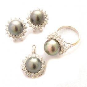 Cultured Pearl, Diamond, 18k White Gold Jewelry Suite.
