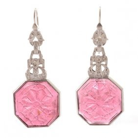 Pair Of Pink Tourmaline, Diamond, 14k White Gold