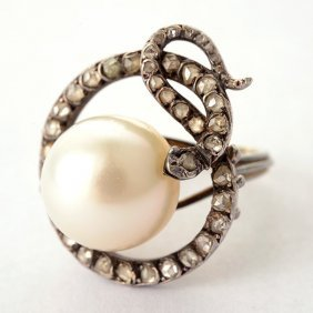South Sea Cultured Pearl, Diamond, Silver-topped, 14k
