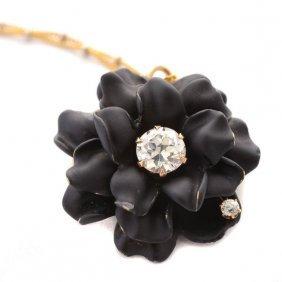 Diamond, Enamel, 14k Yellow Gold Flower Pendant-brooch